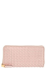 Cole Haan Zoe Woven Rfid Leather Continental Zip Wallet Pink Peach Blush