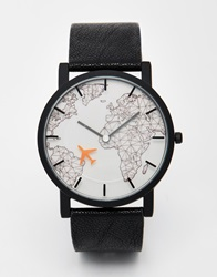 Asos Watch With Moving Aeroplane Second Hand In Black