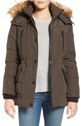 Women's Guess 'Expedition' Short Quilted Parka With Faux Fur Trim Olive
