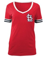5Th And Ocean Women's St. Louis Cardinals Retro V Neck T Shirt Red