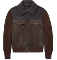 Bottega Veneta Shearling Trimmed Suede And Wool Bomber Jacket Brown