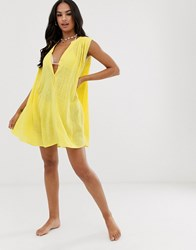 Seafolly Swing Beach Dress With Button Detail In Yellow Purple