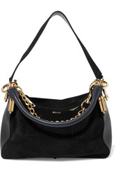 Sacai Coin Purse Suede And Leather Shoulder Bag Black Usd