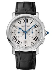 Rotonde De Cartier Automatic Chronograph Stainless Steel And Alligator Strap Watch Black Silver