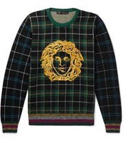 Versace Logo Embroidered Tartan Wool Sweater Green