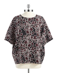 Lord And Taylor Plus Floral Dolman Sleeved Top Red Grape