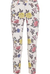 House Of Holland Cropped Mid Rise Floral Print Skinny Jeans White