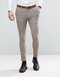 Asos Super Skinny Suit Trousers In Neppy Jersey Oatmeal Beige