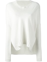 Barbara Bui Round Ribbed Neck Pullover White