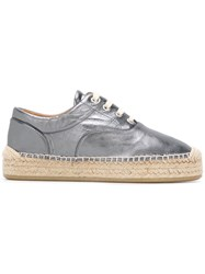 Maison Martin Margiela Mm6 Metallic Lace Up Espadrilles Grey