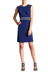Nine West Trimmed Waist A Line Dress Blue