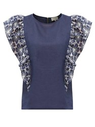 Zeus Dione Stoa Floral Embroidered Ruffled Top Navy