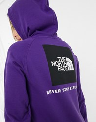 The North Face Red Box Hoodie In Purple Black