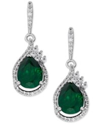 Macy's Lab Created Emerald 2 3 4 Ct. T.W. And White Sapphire 1 2 Ct. T.W. Drop Earrings In Sterling Silver