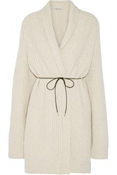 Helmut Lang Oversized Belted Wool Blend Cardigan Beige