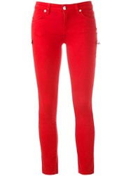 Versus Safety Pin Detail Trousers Red
