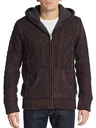 American Stitch Cable Knit Zip Front Jacket Multi