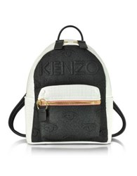 Kenzo Metallic Denim Black And Leather Kombo Backpack