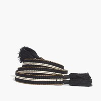 Madewell Striped Tassel Sash Belt True Black Stripe