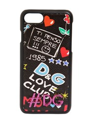 Dolce And Gabbana Graffiti Printed Leather Iphone 7 Cover Black