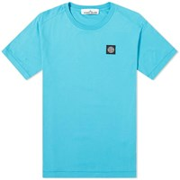Stone Island Garment Dyed Patch Logo Tee Blue