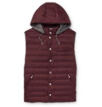Brunello Cucinelli Quilted Nylon Hooded Gilet Burgundy