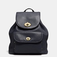 Coach Mini Turnlock Rucksack In Pebble Leather Light Gold Navy