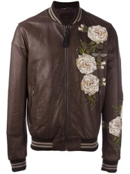 Dolce And Gabbana Floral Embroidered Bomber Jacket Brown
