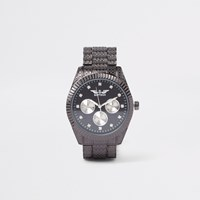 River Island Black Softech Diamante Chain Link Watch