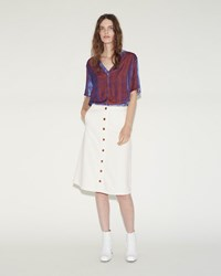 Aalto Button Denim Skirt White