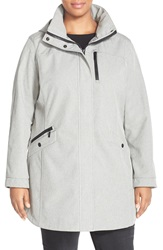 Kristen Blake Crossdye Hooded Soft Shell Jacket Plus Size Light Grey