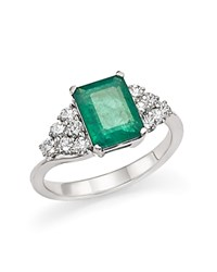 Bloomingdale's Emerald And Diamond Ring In 14K White Gold White Green