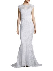 Dolce And Gabbana Open Back Lace Gown Ivory