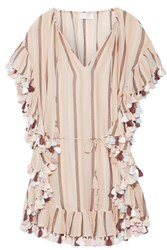 Zimmermann Jasper Tasseled Striped Cotton Voile Mini Dress Pastel Pink