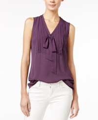 Maison Jules Pleated Tie Neck Blouse Only At Macy's Plum Perfect