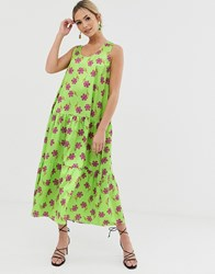 Liquorish A Line Midi Dress In Green Floral Print