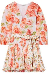 Alice Olivia Pali Belted Floral Print Cotton Voile Mini Dress Coral