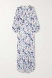 Fleur Du Mal Floral Print Silk Georgette Maxi Dress White