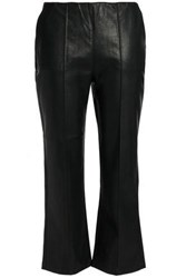 Duffy Cropped Faux Leather Bootcut Pants Black