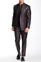 Kenneth Cole Reaction Grey Two Button Peak Lapel Suit Gray