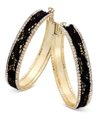 Thalia Sodi Gold Tone Metal Mesh And Crystal Hoop Earrings Only At Macy's Black Lace