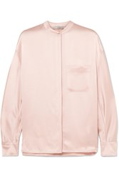 Vince Collarless Silk Satin Blouse Pastel Pink