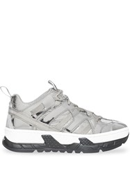 Burberry Metallic Leather And Nylon Union Sneakers Silver