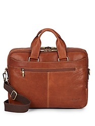 Kenneth Cole Crumple Leather Briefcase Cognac