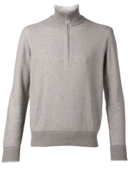 Loro Piana Zip Collar Sweater Nude And Neutrals