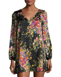 On The Road Maggie Floral Print Shift Dress Black Pattern