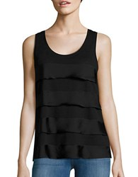 Lord And Taylor Mixed Media Tiered Tank Black