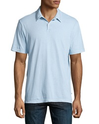 James Perse Short Sleeve Jersey Polo Shirt Pale Gray