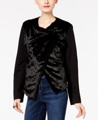 Inc International Concepts Asymmetrical Faux Fur Jacket Only At Macy's Deep Black