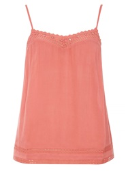 Dorothy Perkins Crochet Trim Camisole Coral